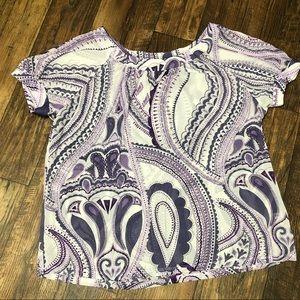 New York & Company XL Purple & White Blouse